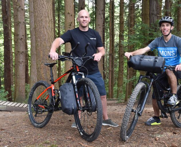 Mike Maguire (left) and business partner Phil Gallagher with their bike bag system. Photos: Gregor Richardson