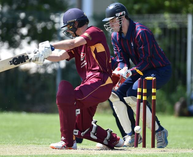 North East Valley batsman Hunter Kindley is bowled during his side's premier club match against...