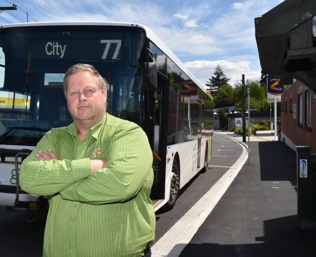 Dunedin Tramways Union secretary Philip Matthews at the Green Island bus stop, where drivers have...