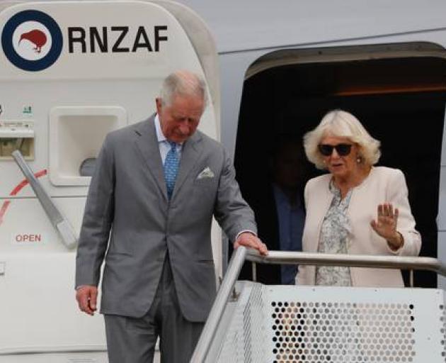 Prince Charles and Camilla, Duchess of Cornwall, arrive at Whenuapai. Photo: NZ Herald