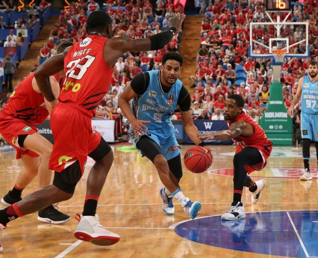 Corey Webster drives to the hoop for the New Zealand Breakers against the Perth Wildcats in Perth...