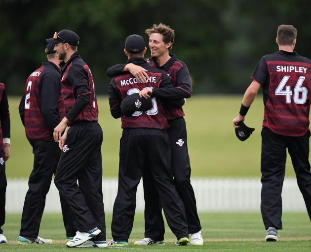 Canterbury celebrate their one-wicket win over Northern Districts at Hagley Oval on Wednesday.