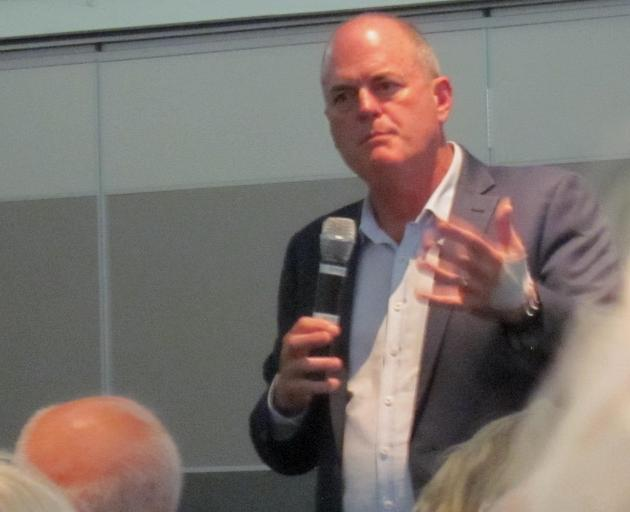 National Party opposition agricultural spokesman Todd Muller in action in Ashburton recently. Photo: Toni Williams