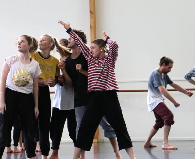 Olivia O'Brien (fifth from left) has created her own dance work at The Arts Centre.