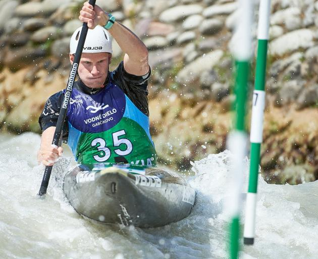 Finn Butcher on his way to 13th in the men's K1 at the canoe slalom World Cup in Slovakia in June...