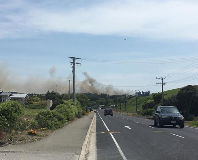 A significant fire is burning on Scroggs Hill Rd. Photo: Paige Newman