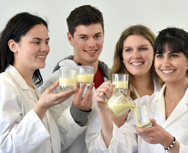 University of Otago food science department students (from left) Annabel Harnett (21), James...