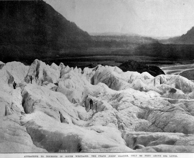The Franz Josef Glacier, South Westland, only 200 metres above sea level. — Otago Witness, 18.11...