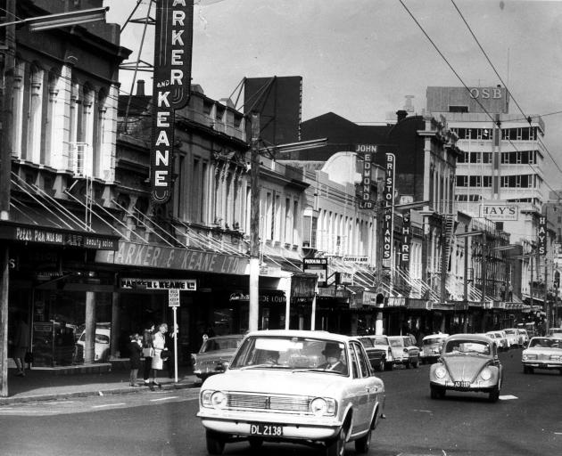 George St looking south in 1969. The road was for cars. Photo; ODT files