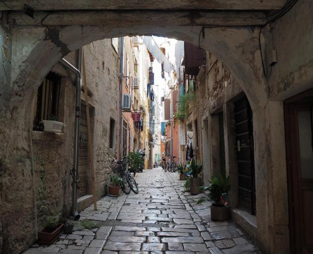 Street view in the old town of Rovinj, famous tourist destination on the shores of the Adriatic...