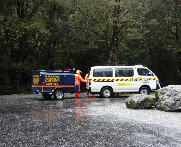 The tramper is loaded into the Makarora Fire and Emergency vehicle. Photos: Mark Price