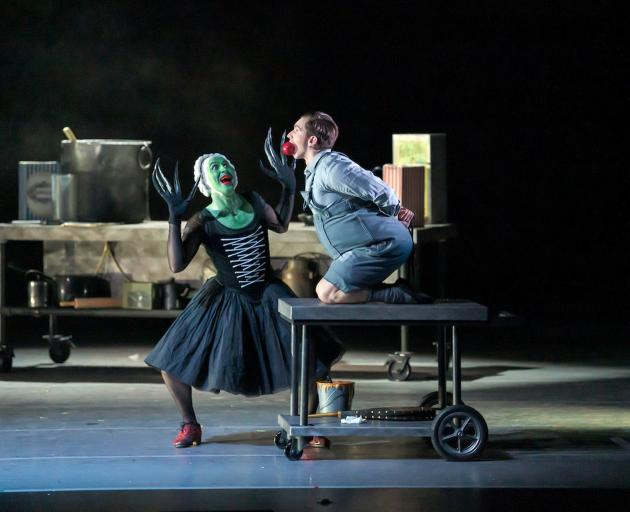 RNZB principal Paul Mathews as the witch gets ready to roast soloist Shaun James Kelly as Hansel in Hansel and Gretel. Photos: Stephen A'Court