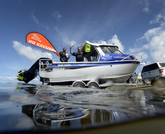 Otago Regional Council harbourmaster Steve Rushbrook (right ) and his deputy, Pete Dryden, are...