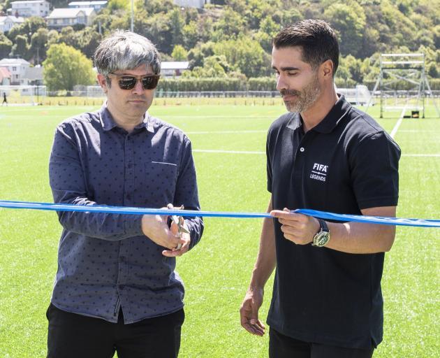Dunedin Mayor Aaron Hawkins (left) and Fifa representative Juan Pablo Angel, a former Aston Villa...