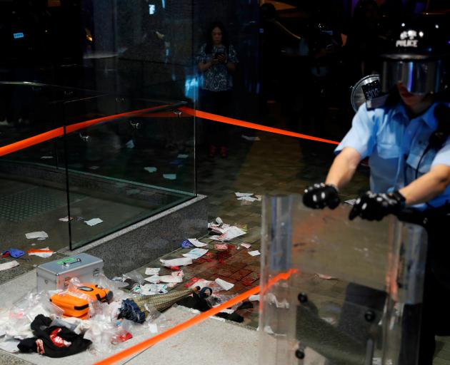 A view of the scene where Andrew Chiu Ka Yin, District Councillor of Taikoo Shing West, was injured in a knife attack during anti-government protest at a shopping mall in Hong Kong. Photo: Reuters