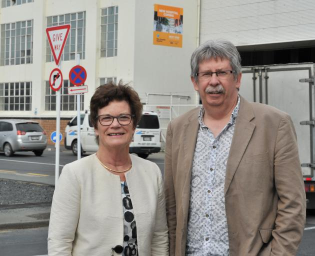 Outgoing Southern District Health Board commissioners Kathy Grant and Richard Thomson, on the site where the new Dunedin hospital will be built. Photo: Christine O'Connor