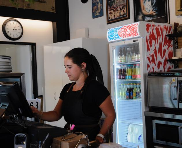 Evania King at work in Rangiora's Black and White Coffee Cartel last Friday. Photo: Shelley Topp