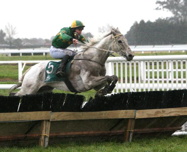 Jackfrost clears a fence on his way to winning the Grand National Hurdles at Riccarton last August. Photo: Race Images