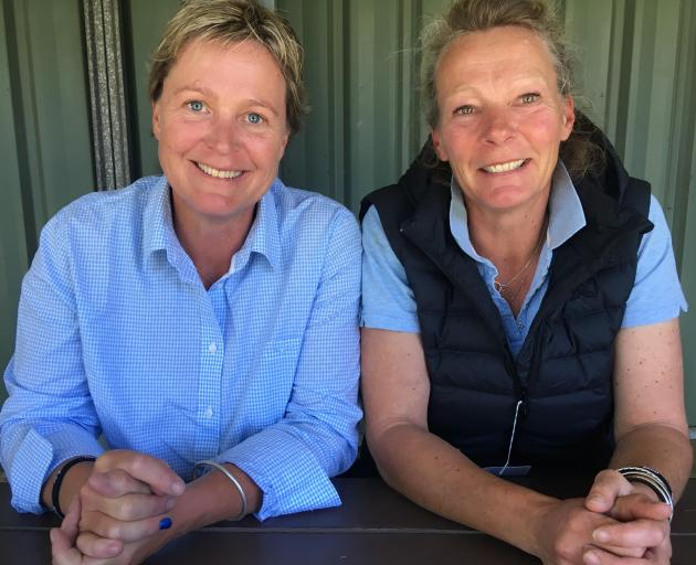 Maniototo sisters Janine Smith and Margot Hall take a break during the New Zealand Agricultural...