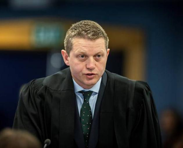 The accused's chief defence lawyer Ian Brookie makes an argument for his client. Photo: Michael...