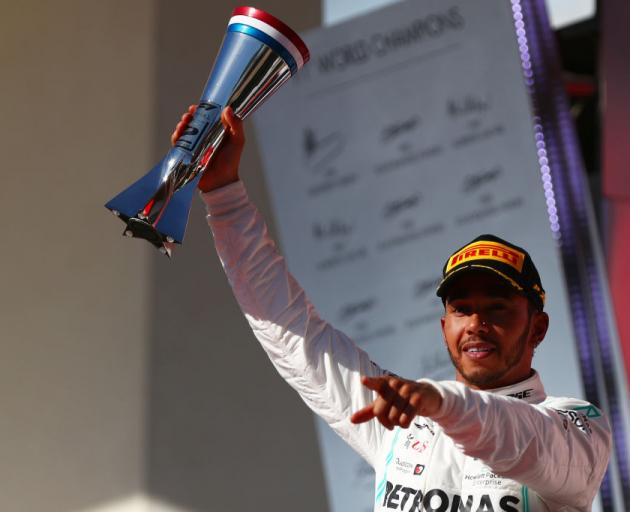 2019 Formula One World Drivers Champion Lewis Hamilton of Great Britain and Mercedes GP celebrates on the podium during the F1 Grand Prix of USA at Circuit of The Americas. Photo: Getty Images
