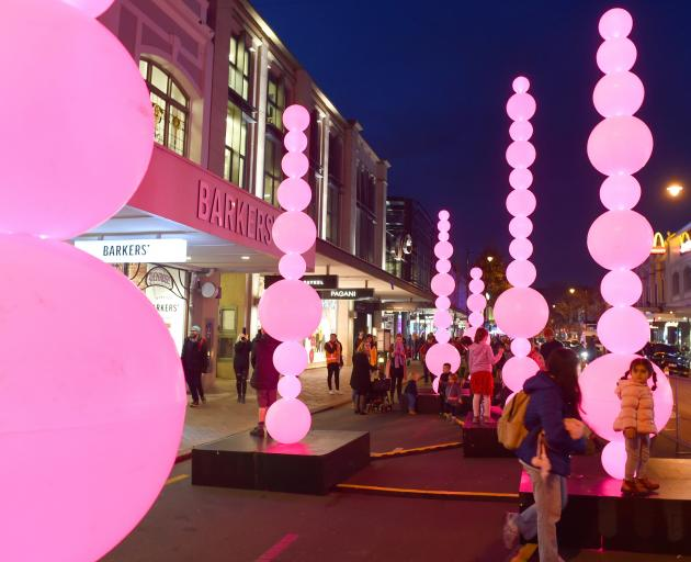 Dunedin residents bask in the light at Dunedin's Glow Festival over the weekend. PHOTOS: GREGOR...