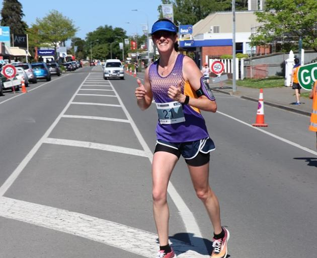 Lisa McNabb competes in the half marathon at the Selwyn Running Festival on Sunday. Photo: Lisa...