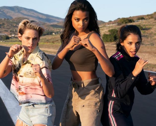 From left: Kristen Stewart, Ella Balinska, and Naomi Scott in Charlie's Angles. Photo: CTMG