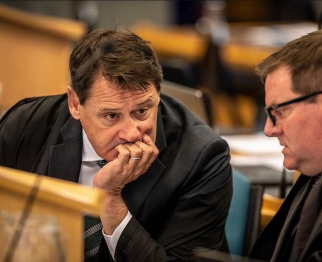 Crown prosecutors Brian Dickey and Robin McCoubrey discuss the case. Photo: NZ Herald