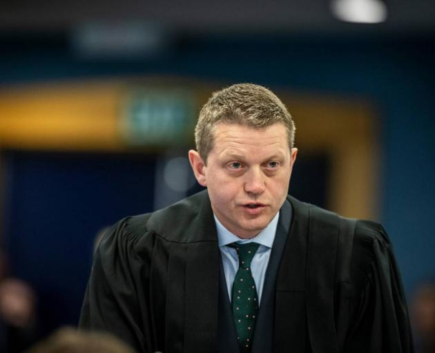 The accused's chief defence lawyer Ian Brookie makes an argument for his client. Photo: NZ Herald
