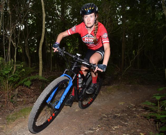 Dunedin mountain biker Nina McVicar in action at Wakari Bike Park in Dunedin yesterday afternoon. Photo: Gregor Richardson