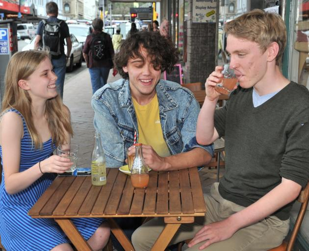 Year 13 pupils (from left) Beth Lynch (17), Sam Souquet (17) and Cameron Monteath (18), who are...