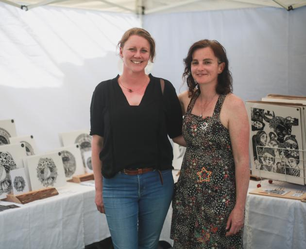 North Otago artists Tracey Vickers-Anderson (left) and Natalie Carpenter were among the 80...