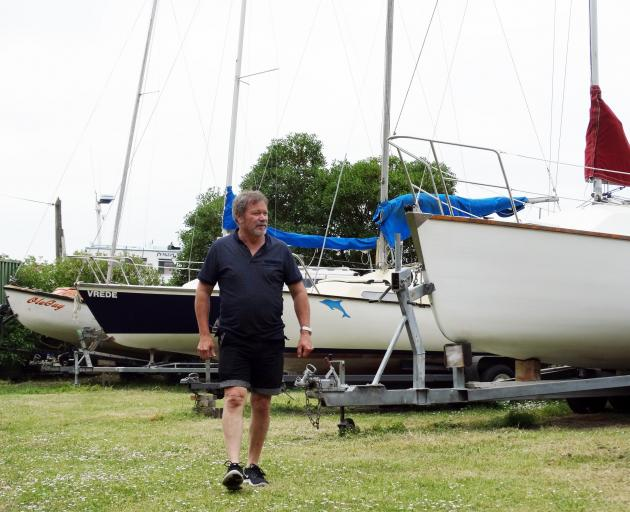 North Otago Yacht and Power Boat Club commodore Kevin Murdoch inspects boats at the club's  compound. Photo: Daniel Birchfield