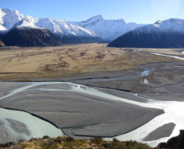 The NZ River Awards 2019 River Story Award-winning Tasman River with the main divide and Mt...