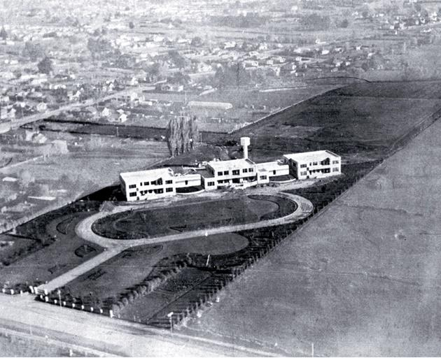 An aerial view of the South Island Methodist Orphanage and Children's Home in Harewood, 1934.