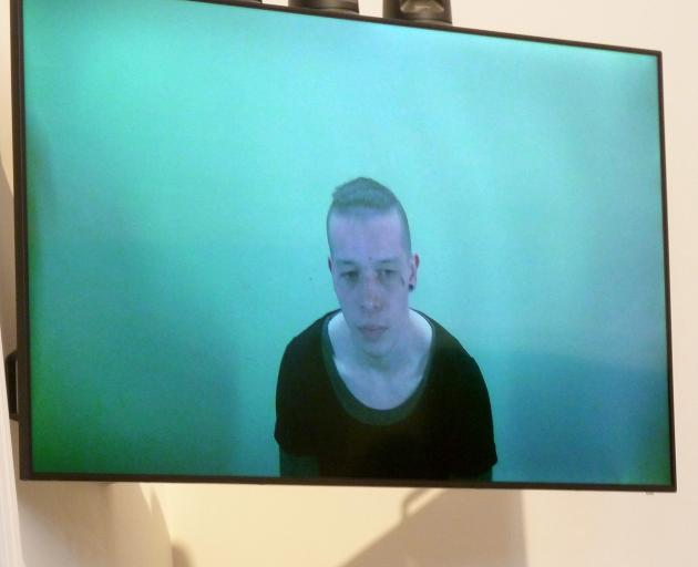 Zachary Hamilton-Wright at sentencing by audio visual link in the Dunedin District Court. PHOTO:...