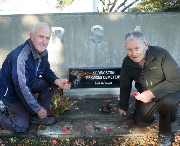Lincoln resident Bruce Tweedy, 66, and Springs RSA president Ivan Norton, 88, at the Springston...