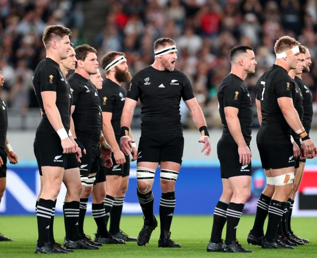 Deprating captain Kieran Read led an emotional haka to start the game and end an era. Photo:...