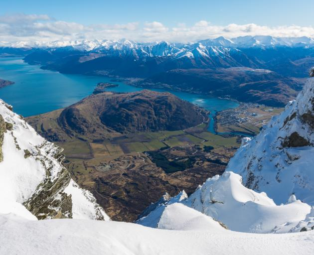 Bird's eye of Queenstown from the Remarkables Mountains. Photo: Getty Images