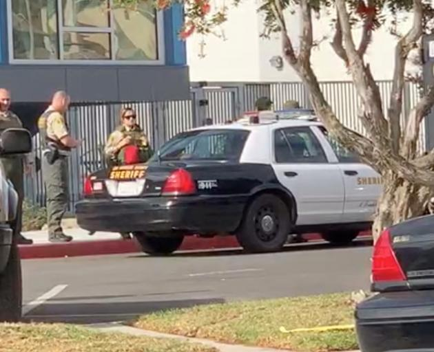 Sheriffs outside Saugus High School after a shooting in Santa Clarita, Californial Image: KHTS Radio via Reuters