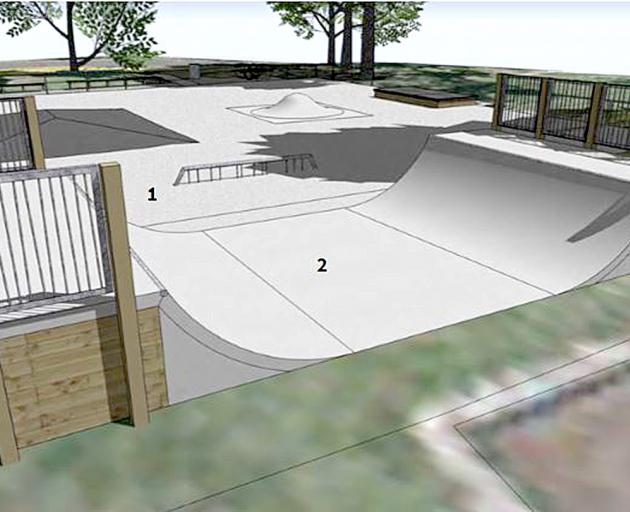 The upgrade proposed for the Bishopdale Park skate area includes a new halfpipe and granite ledge...