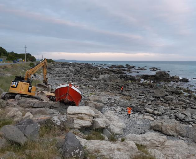 A small fishing boat ran aground near Kaikoura on Sunday afternoon. Photo: ECan