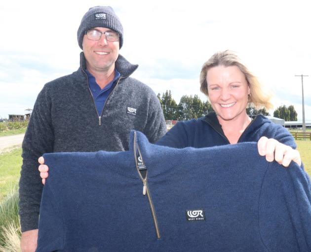 Murray and Julie Hellewell have launched West Ridge woollen jerseys, made in New Zealand from their farm's Perendale lamb fleece and lined with merino wool. Photos: Jack Conroy