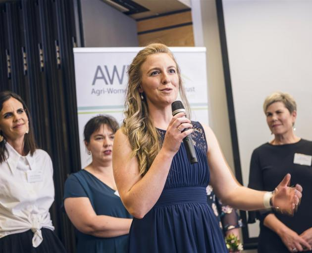 Gimmerburn farmer and vet Rebecca Smith shares her insights at the Agri Women's Development Trust's Escalator graduation ceremony. Photo: Supplied