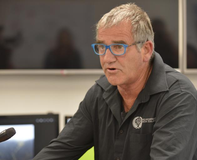 Fire and Emergency New Zealand incident commander Graeme Still fronts a media briefing yesterday....
