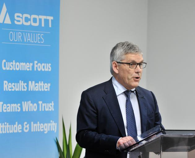 Scott Technology chairman Stuart McLauchlan at yesterday's annual meeting, attended by about 50...