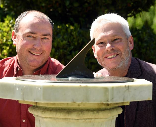 Traditional plasterer Donal Hickey  and Otago Museum director Dr Ian Griffin (right) examine the...