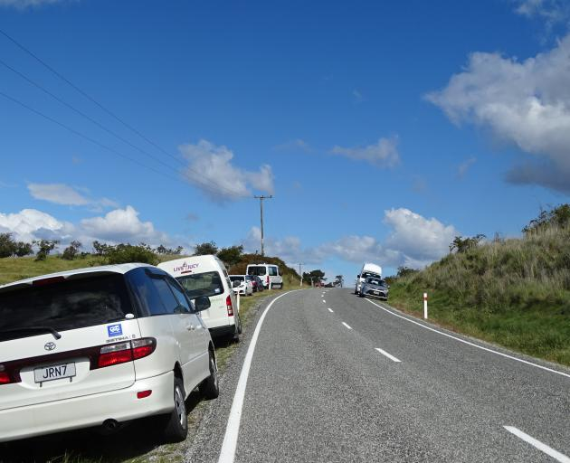 By late afternoon, both sides of Mt Aspiring Rd north of the Roys Peak Track car park were used...