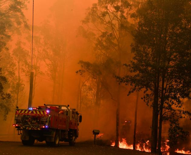 Fire trucks are seen during a bushfire in Werombi, 50 km southwest of Sydney. Photo: Reuters